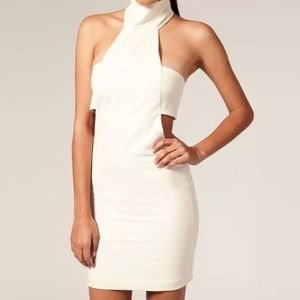 ASOS aqua AQ dress off white cream cutout dress